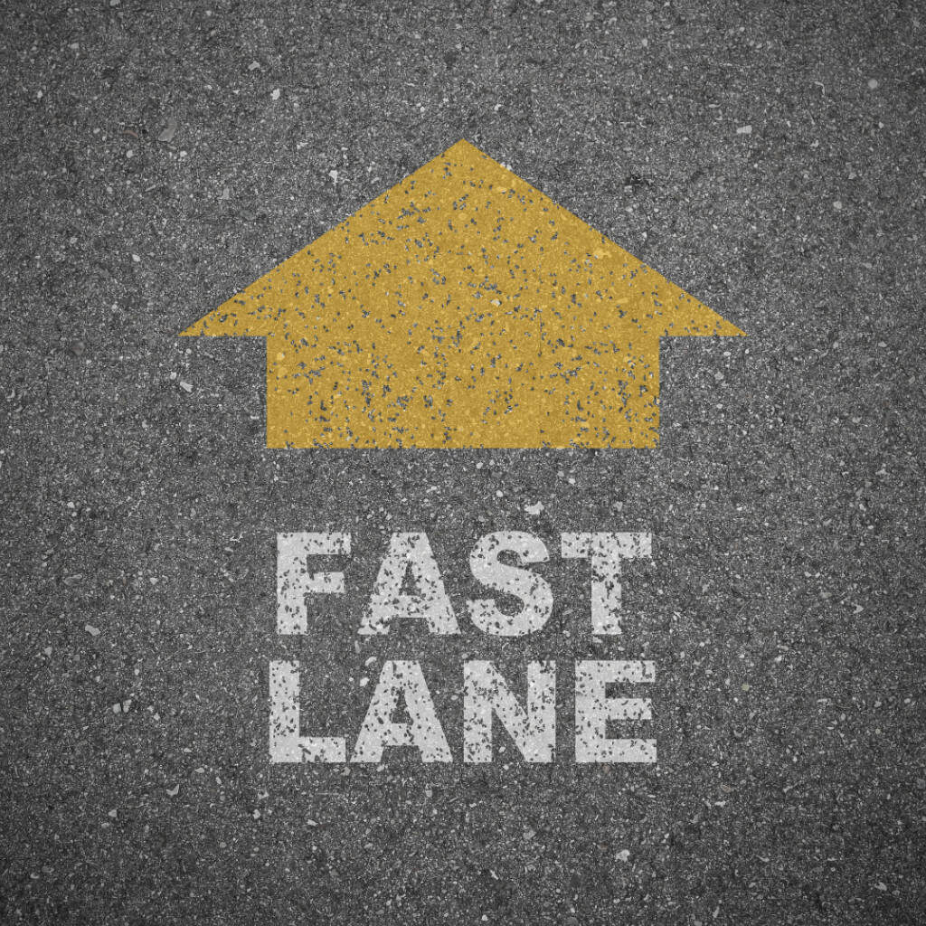 Road with the word fast lane on it